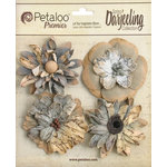 Petaloo - Printed Darjeeling Collection - Floral Embellishments - Wild Blossoms - Large - Soft Grey