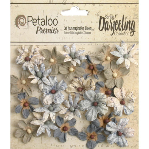 Petaloo - Printed Darjeeling Collection - Floral Embellishments - Mini - Soft Grey