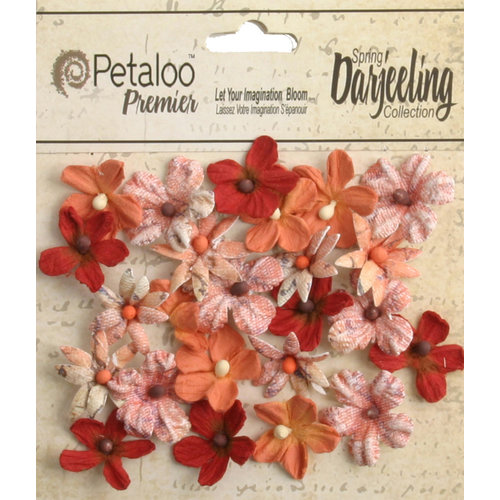 Petaloo - Printed Darjeeling Collection - Floral Embellishments - Mini - Paprika