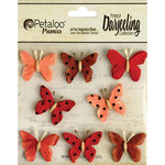 Petaloo - Printed Darjeeling Collection - Mini Butterflies - Teastained Red