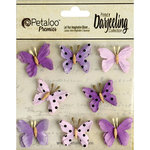 Petaloo - Printed Darjeeling Collection - Mini Butterflies - Teastained Purple
