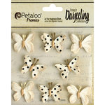 Petaloo - Printed Darjeeling Collection - Mini Butterflies - Teastained Cream