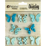 Petaloo - Printed Darjeeling Collection - Mini Butterflies - Teastained Teals