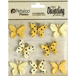 Petaloo - Printed Darjeeling Collection - Mini Butterflies - Teastained Yellow