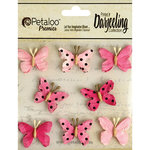 Petaloo - Printed Darjeeling Collection - Mini Butterflies - Teastained Pink