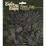 Petaloo - Color Me Crazy Collection - Black Chalkboard - Assorted Flower Layers