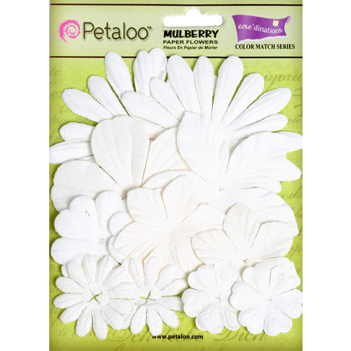 Petaloo - Color Me Crazy Collection - Core Matched Mulberry Paper Flowers - Snowflake White