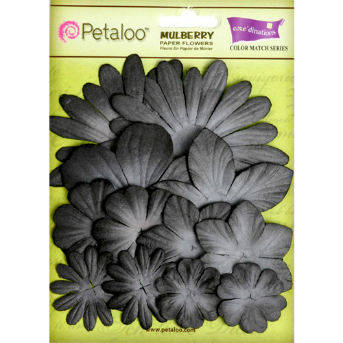 Petaloo - Color Me Crazy Collection - Core Matched Mulberry Paper Flowers - Nightfall