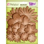 Petaloo - Color Me Crazy Collection - Core Matched Mulberry Paper Flowers - Brownie