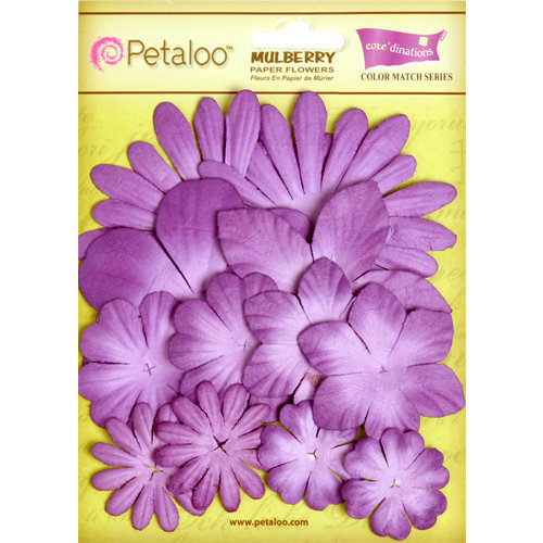 Petaloo - Color Me Crazy Collection - Core Matched Mulberry Paper Flowers - Purple Majesty