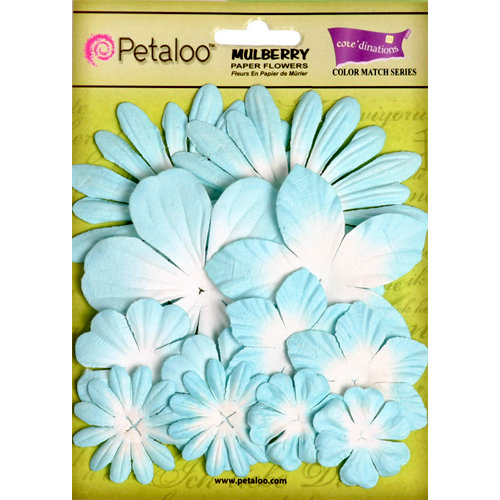 Petaloo - Color Me Crazy Collection - Core Matched Mulberry Paper Flowers - Aqueduct Light Blue