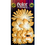 Petaloo - Color Me Crazy Collection - Core Matched Mulberry Paper Flowers - Sunflower