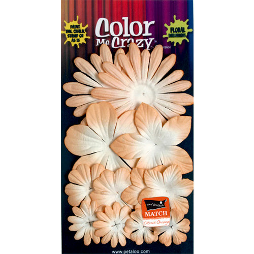 Petaloo - Color Me Crazy Collection - Core Matched Mulberry Paper Flowers - Mango