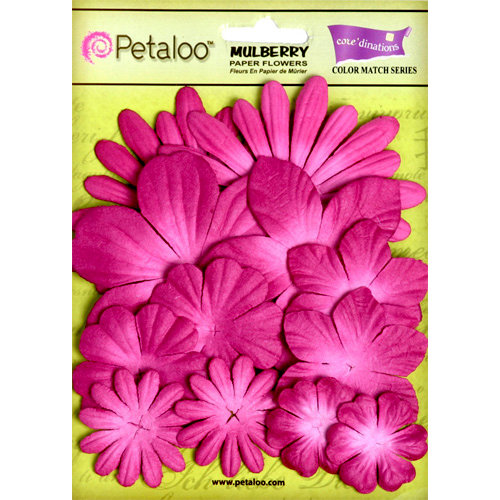 Petaloo - Color Me Crazy Collection - Core Matched Mulberry Paper Flowers - Love Potion Fuchsia