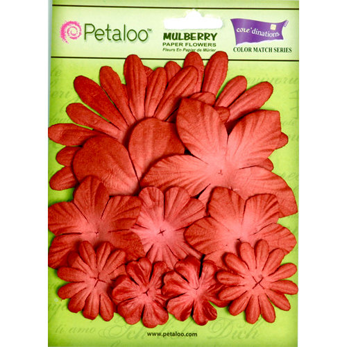 Petaloo - Flora Doodles Collection - Layering Mulberry Flowers - Cardinal Red