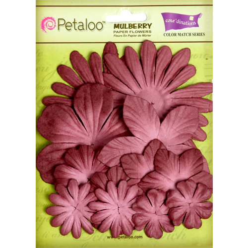 Petaloo - Flora Doodles Collection - Layering Mulberry Flowers - Burgundy