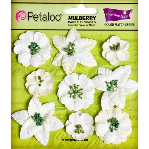 Petaloo - Flora Doodles Collection - Mulberry Flowers - Mini Floral - White