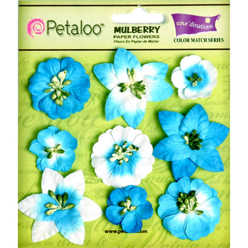 Petaloo - Flora Doodles Collection - Mulberry Flowers - Mini Floral - Marine Blue