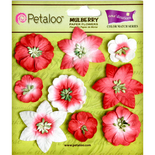 Petaloo - Flora Doodles Collection - Mulberry Flowers - Mini Floral - Cardinal Red