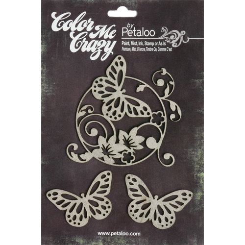 Petaloo - Color Me Crazy Collection - Chipboard Pieces - Butterflies