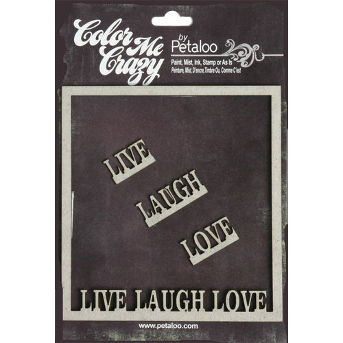 Petaloo - Color Me Crazy Collection - Chipboard Pieces - Live Laugh Love Frame