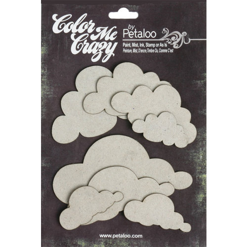 Petaloo - Color Me Crazy Collection - Chipboard Pieces - Clouds