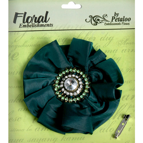 Petaloo - Estate Collection - Fancy Flower with Gem Center - Hunter Green