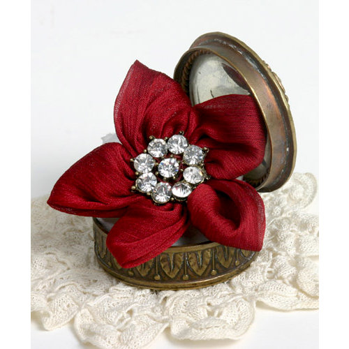 Petaloo - Estate Collection - Star Ribbon Flower with Gem Center - Red