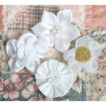 Petaloo - Expressions Collection - Mini Fabric Flowers - White