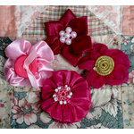 Petaloo - Expressions Collection - Mini Fabric Flowers - Fuchsia