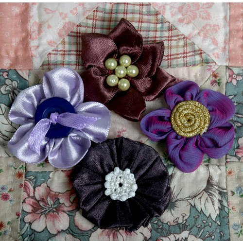 Petaloo - Expressions Collection - Mini Fabric Flowers - Plum