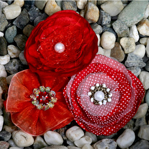 Petaloo - Expressions Collection - Fabric Flowers - Red