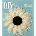 Petaloo - DIY Paintables Collection - Floral Embellishments - Burlap Medium Sunflower - Ivory
