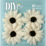 Petaloo - DIY Paintables Collection - Floral Embellishments - Burlap Small Sunflowers - Ivory
