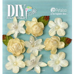 Petaloo - DIY Paintables Collection - Floral Embellishments - Mixed Textured Mini Blossoms - Ivory