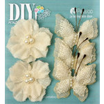 Petaloo - DIY Paintables Collection - Floral Embellishments - Burlap Butterflies and Blossoms - Ivory