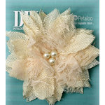 Petaloo - DIY Paintables Collection - Floral Embellishments - Burlap Birdsnest Flower - Ivory