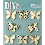 Petaloo - DIY Paintables Collection - Floral Embellishments - Mini Butterflies - Teastained Cream