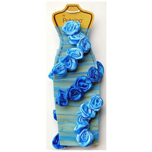 Petaloo - Ribbon Rose Garland - Dark Blue and Light Blue - 4 Feet