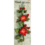 Petaloo - Canterbury Collection - Poinsettia and Berries Branch - Red