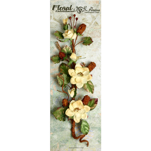Petaloo - Canterbury Collection - Magnolia and Berries Branch - Cream