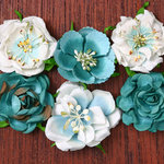 Petaloo - Canterbury Collection - Roses - Teal