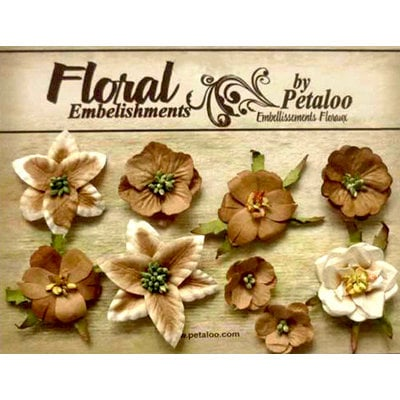 Petaloo - Canterbury Collection - Floral Embellishments - Mini - Brownie