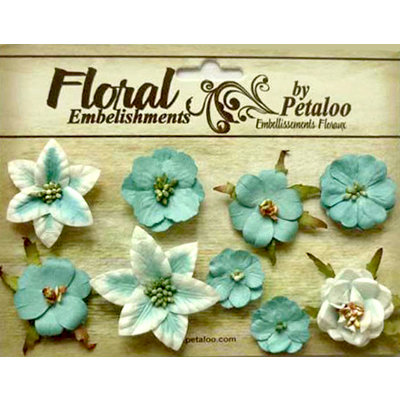 Petaloo - Canterbury Collection - Floral Embellishments - Mini - Teal