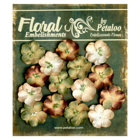 Petaloo - Canterbury Collection - Floral Embellishments - Forget Me Nots - Beige Brown and Sage