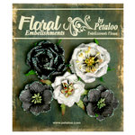 Petaloo - Canterbury Collection - Floral Embellishments - Glittered Fleur - Blacks