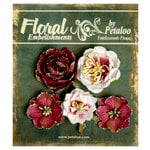 Petaloo - Canterbury Collection - Floral Embellishments - Glittered Fleur - Burgundies