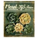 Petaloo - Canterbury Collection - Floral Embellishments - Glittered Fleur - Greens