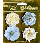 Petaloo - Penny Lane Collection - Floral Embellishments - Ruffled Roses - Slate Blue