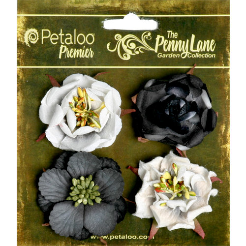 Petaloo - Penny Lane Collection - Floral Embellishments - Ruffled Roses - Silhouette